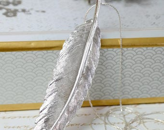 Silver Feather Pendant, Silver Feather Charm Necklace, Bohemian Feather Necklace, Bridesmaid Necklace, Bridesmaid Gifts, Feather Jewelry