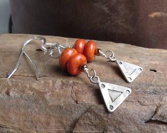 orange apple fossil coral earrings. LISTEN. sterling triangle silver earrings. casual earrings. handmade natural gemstone earrings. unique.