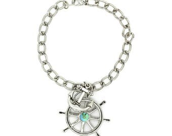 Anchor & Helm Silver Toned Charm Bracelet
