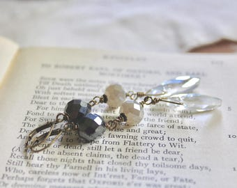 Grey ombre glass bead dangle earrings, From Storm to Storm