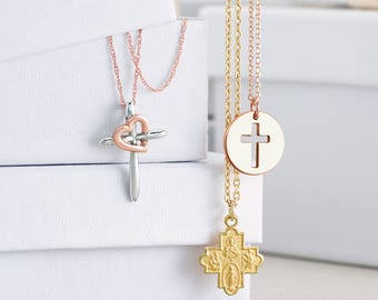 14k Gold Cross Disc Necklace - Pierced Cutout Cross Pendant. Christian Christmas Jewelry. 14k Rose, Yellow & White Gold Available