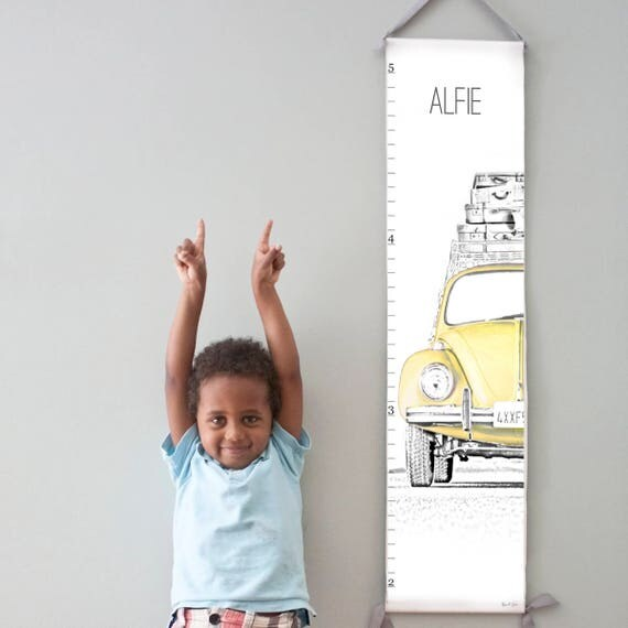 Custom/ Personalized VW Beetle/Bug canvas growth chart in yellow
