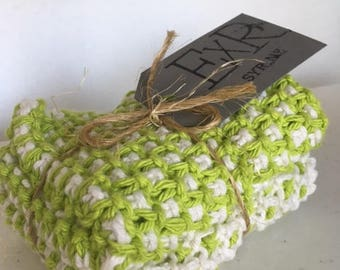 Handmade Green Cotton Dishcloths - Set of 2