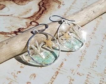 Hawaiian Shell Earrings, Beach Hoop Earrings, Real Starfish, Resin Hoop Earrings, Boho Beach Earrings, Sea Shell Hoop Earrings