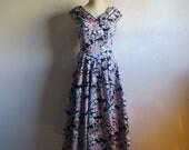 50s Style Laura Ashley Dress 80s Vintage Navy Blue Lilac Floral Cotton 1980s Drop Waist Pleated Dress 12US