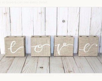 Love Burlap Canvas Art, girlfriend gift, wife gift, burlap canvas wall art, valentine's day gift, girlfriend wall art, engagement, wedding