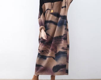 Casual Loose Fitting Long Sleeved Cotton blend Long Dress Blouse- Women Maxi dress