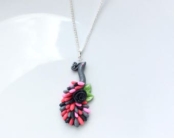 Peacock necklace in black, pink and grey handmade from polymer clay