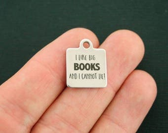 Books Stainless Steel Charm - I Like Big Books and I Cannot Lie! - Exclusive Line - Quantity Options - BFS2379 NEW3