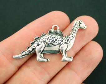 2 Dinosaur Charms Antique Silver Tone Stegosaurus - SC7281
