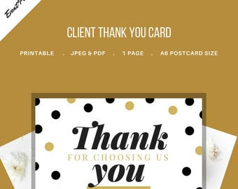 Thank You Card for Clients for Event and Wedding Planners. Printable Template. JPEG and PDF Versions included.