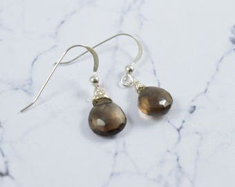 Smoky Quartz Earrings, Gold FIlled Jewelry, Golden Brown Dangle Earrings. Choice of Earwire, Smokey Quartz Earrings