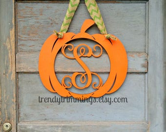 Pumpkin Monogram- Holiday Trimmings™ Wooden Monogram Letter- Interlocking Script, Door Hanger Wreath- Halloween, Fall, Thanksgiving decor