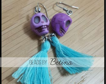 BEE//SUGAR: Skull & Tassel Earrings in Purple/Teal