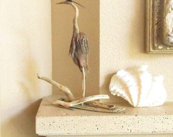 Great Blue Heron Driftwood Sculpture Standing in the Driftwood on Alert