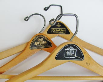 Wood Hangers Clothing Store Advertising Set of 3 Batts Wishbone Brooks of California Eagle Clothes Brooklyn Phil Small Men's and Boy's Store