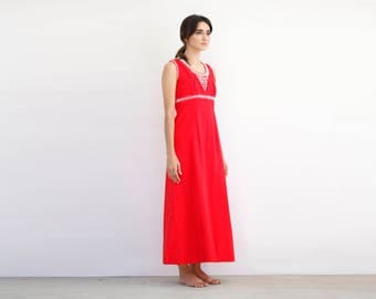 Hand made 70's Red Maxi with White Embroidered Beads