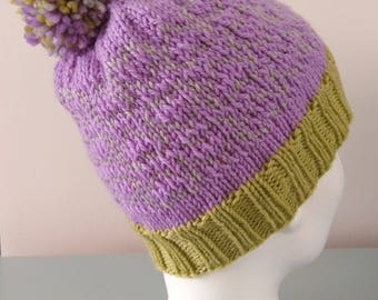 Lavender Heart Fair Isle Beanie Hat - Pistachio Grey Modern Knitted Merino Wool Pom Pom Gift for Her Winter Accessory by Emma Dickie Design