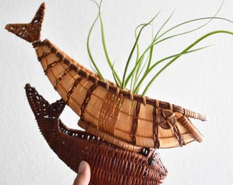 set of 2 woven wicker rattan fish figurine baskets / planters / sculpture