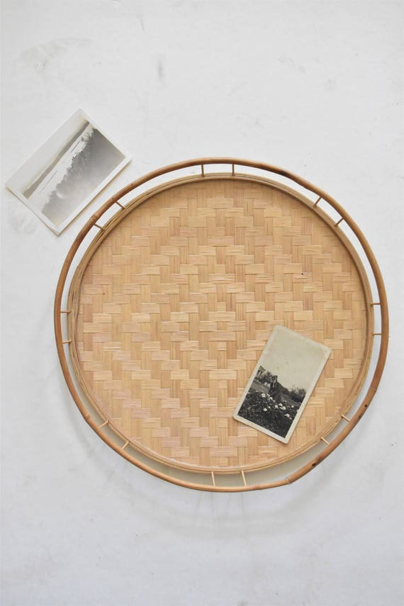 mid century circle woven wicker bamboo rattan basket tray