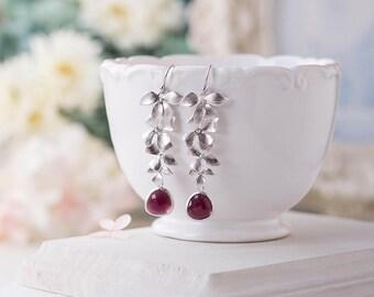 Burgundy Earrings Maroon  Marsala Wedding Bridal Earrings Bridesmaid Gift Bridesmaid Earrings Silver Bridal Earrings Maid of Honor Gift