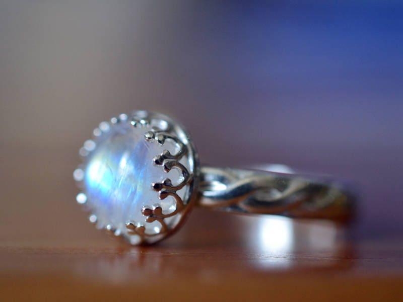 Celtic Rainbow Moonstone Engagement Ring Custom Engraved
