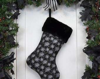 Mini Spider Webs Halloween Christmas Stocking, Goth, Punk Rock, Black and White, Black Faux Fur, Canvas Liner, Dark Christmas