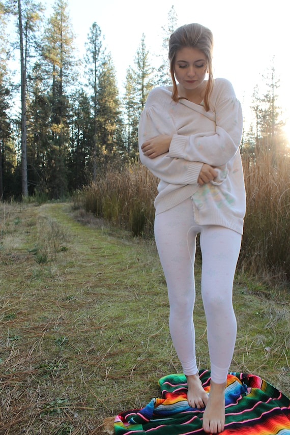 DAWN 1980's Long Johns with Pastel Print Intimates Undergarment Layering Size Small
