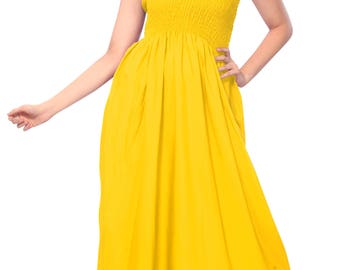 Rayon Solid Plain swimwear aloha hawaiian lounge party work Sundress Yellow - 122363