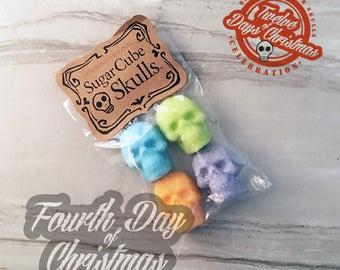 On the fourth day of Christmas - four Bags of Colorful Sugar Skulls // DemBones // mini edible sugar skull // secret santa // skull gifts