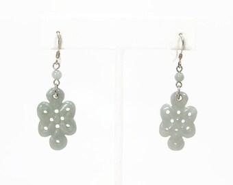 Carved Jade Dangle Earrings, Sterling Silver, Vintage Earrings, 925 Silver, Vintage Jewelry, Green Jade, Pale Green
