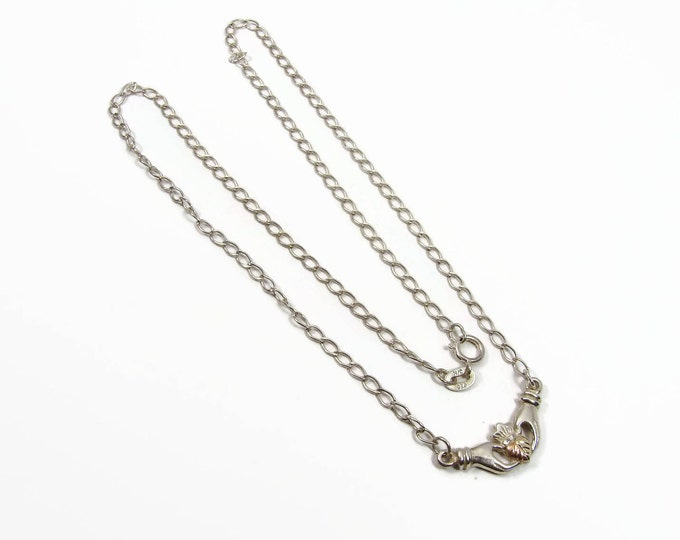 Vintage Coleman Black Hills Gold Sterling Claddagh Necklace
