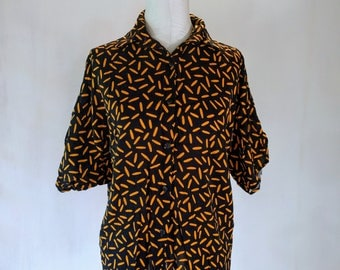 Yellow New Wave Sprinkles Button Down Shirt Top