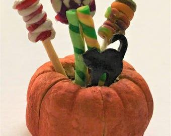 Dollhouse Miniature PUMPKIN CANDY BUCKET Halloween Party Food Lollipop Black Cat Cookie
