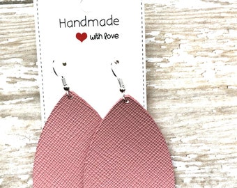 Pink Blush Saffiano Leather Teardrop Drop Earrings