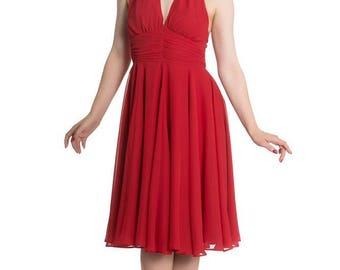 Brand New Stunning 50s Marilyn Monroe Style Chiffon Dress in Red