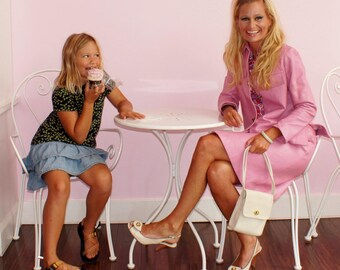 60's Bonnie Cashin Designer Pink Leather 2 piece Suit