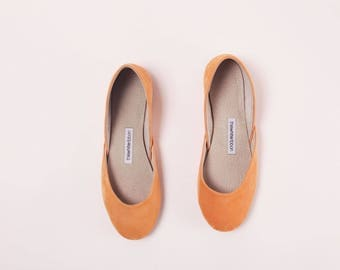 Handmade Leather Ballet Flats | Pastel Orange Suede | Ballet Flats | Ready to Ship