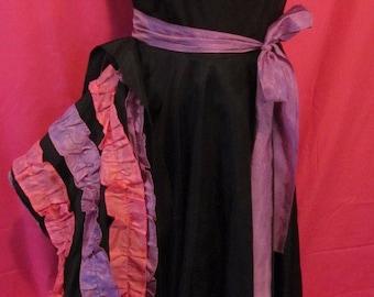 Vintage Black, Purple & Pink Can-Can Ruffled Taffeta Formal Dress