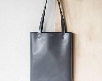 Xmas SALE Grey Leather Tote bag No.Tl- 17062