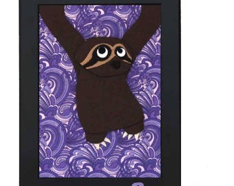 Sloth - Felt Animal Art -  Kids Room Decor - Nursery Wall Art - Baby Shower Gift
