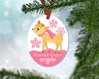 Personalized First Christmas Ornament, Baby Girl Keepsake Ornament, Baby's 1st Christmas, Christmas Deer Fawn, Christmas Gift (028)