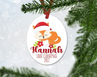 Personalized First Christmas Ornament, Baby Girl Keepsake Ornament, Baby's 1st Christmas, Christmas Baby Fox, Christmas Gift (041)