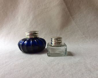 Pair of Antique Inkwells - Cobalt Glass and Metal Antique Inkwell - Home Office Decor - Old Desktop -