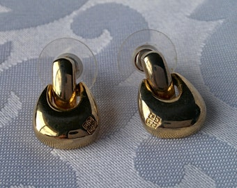 Vintage Givenchy Earrings Pierced Ears, Gold Tone Givenchy Earrings, Givenchy, VIntage Givenchy