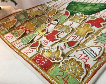 Advent Calendar Quilted Wall Hanging Holiday Decor Cookie Countdown QuiltsyHandmade