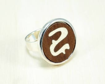 Wood ring, womens wood ring, wood rings for women, wood inlay ring, wood accessories, trendy jewelry, casual jewelry