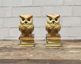 Owl Bookends | Set of 2 | Vintage | Sand Weighted | Ceramic | 1970s | Quirky | Boho