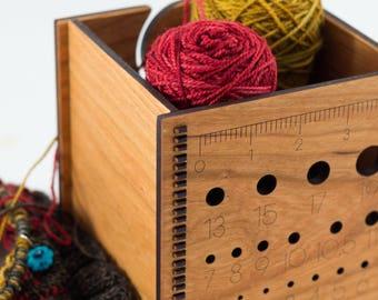 Small Yarn Bowl - Yarn Box - Knitting Needle Gauge - Gift for Knitters - Knitting Bowl - Wood Yarn Bowl