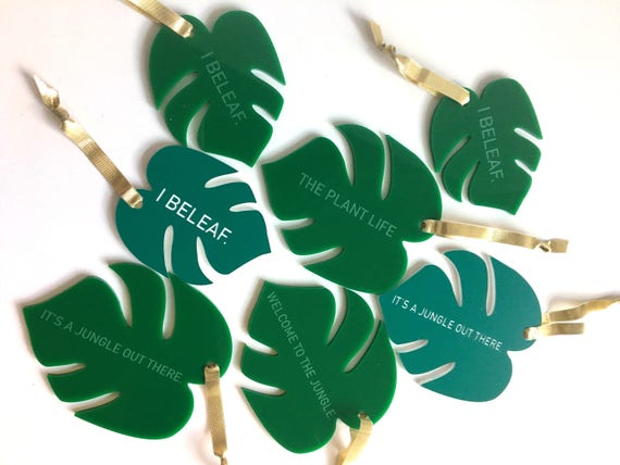 NEW ** Monstera Leaves Christmas Tree Ornaments + Wall Charms